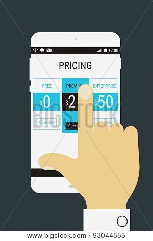 Hand selecting a product price on mobile device