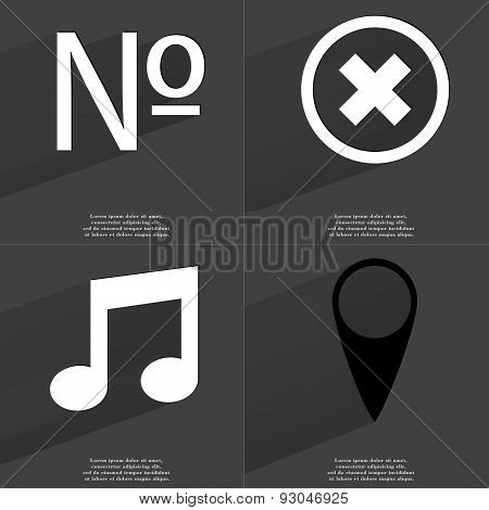 Number, Stop Sign, Note, Checkpoint. Symbols With Long Shadow. Flat Design
