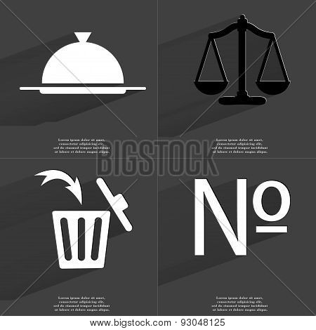 Tray, Scales, Trash Can, Numero Sign. Symbols With Long Shadow. Flat Design