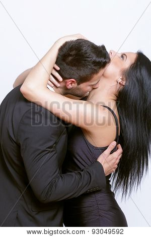 Passionate kiss between a couple