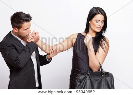 Woman rejecting a man