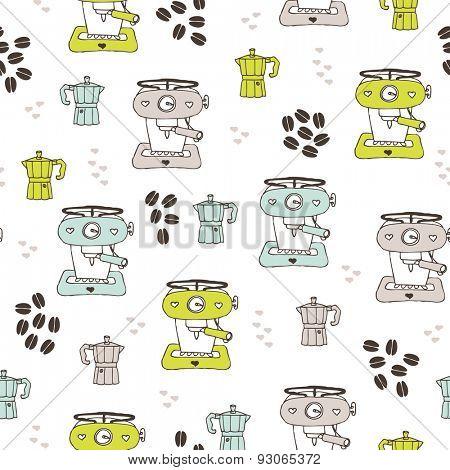 Seamless coffee maker machine and espresso percolator coffee beans illustration background pattern design in vector