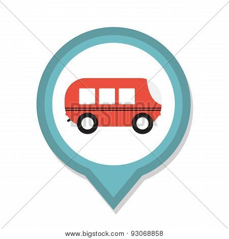 Line Icon with Flat Graphics Element of Bus Vector Illustration