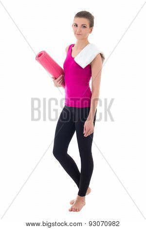 Toung Beautiful Slim Woman With Yoga Mat Isolated On White