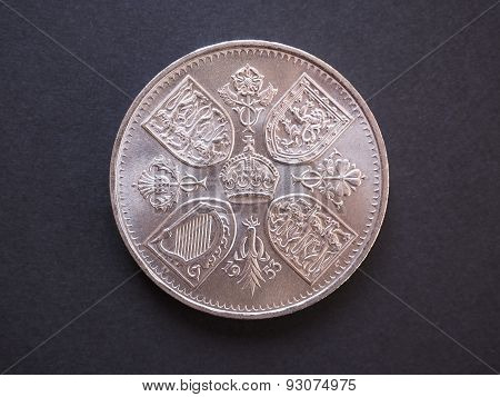 LONDON UK - CIRCA DECEMBER 2014: 5 shillings Predecimal British Pound coin withdrawn on Decimal Day i.e. 15 February 1971