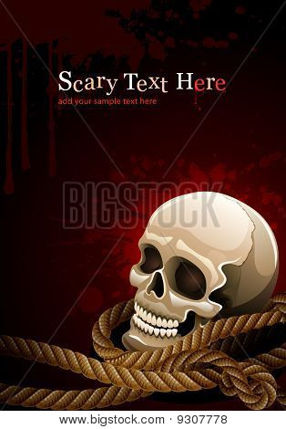scary skull head among rope