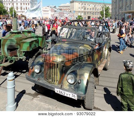 Retro Car Soviet Military Jeep Uaz-69 And Army Food Truck