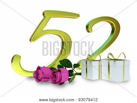 fifty-first birthday concept with pink roses - 52th