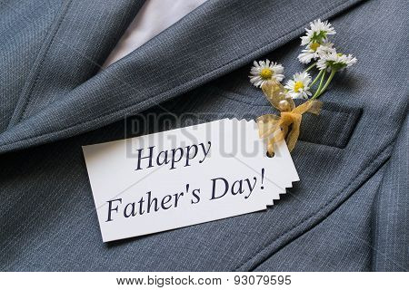 Surprise For Father's Day: Greeting And Flowers