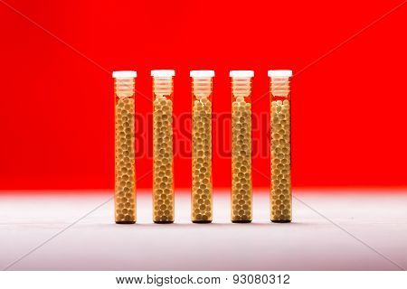 Five Small Glass Tubes With Homeopathy Globules, Red Background