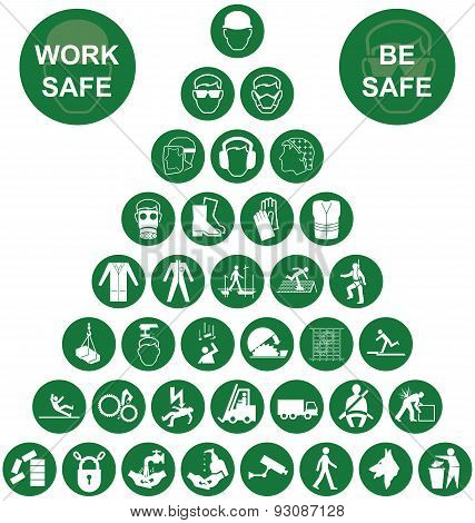 Pyramid Health and Safety Green Icon collection
