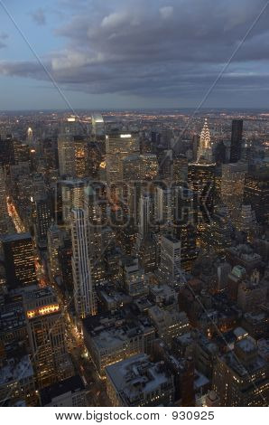 New York Skyline At Night With Clouds