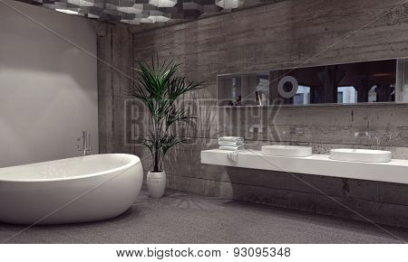 Modern bathroom suite with a double vanity and boat shaped bathtub in a grey bathroom interior illuminated from above by a bank of hexagonal down lights. 3d Rendering