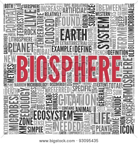 Close up BIOSPHERE Text at the Center of Word Tag Cloud on White Background.