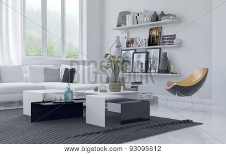 Modern homely living area with white decor with black furniture highlights with a comfortable corner couch, contemporary armchair and shelves of personal photos and mementos. 3d Rendering