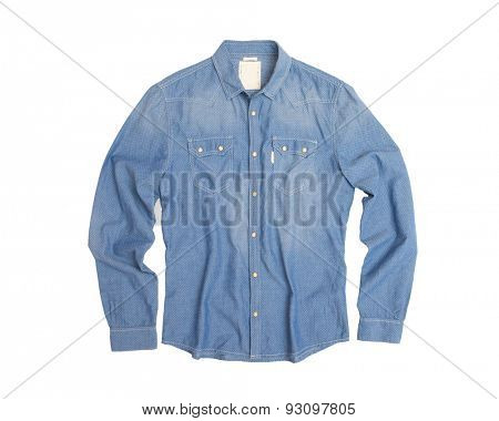 blue man's shirt isolated on white