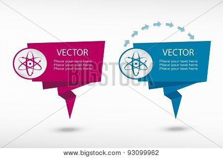 Atom Molecule On Origami Paper Speech Bubble Or Web Banner, Prints
