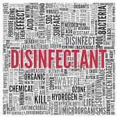 Close up DISINFECTANT Text at the Center of Word Tag Cloud on White Background. poster