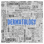 Close up DERMATOLOGY Text at the Center of Word Tag Cloud on White Background. poster