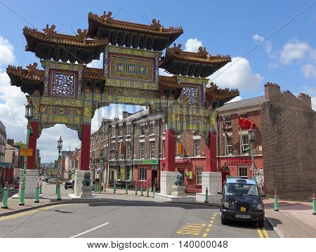 LIVERPOOL, ENGLAND, JULY 2. Chinatown Gate on July 2, 2016, in Liverpool, England. Liverpool's Chinatown is home to the oldest Chinese community in Europe.