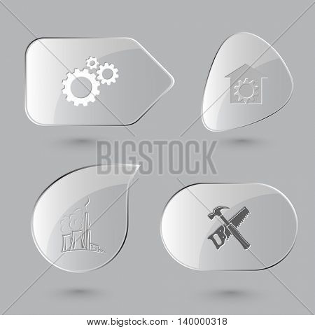 4 images: gears, repair shop, thermal power engineering, hand saw and hammer. Tehnology set. Glass buttons on gray background. Vector icons.