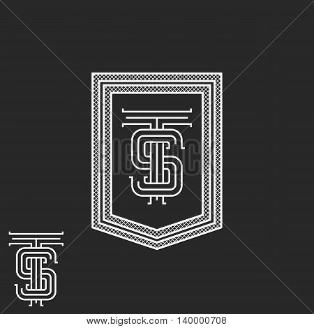 Hipster TS initials monogram frame black and white vintage boutique emblem mockup stylish calligraphic graphic design element poster