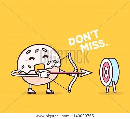 Vector illustration of bright color smile donut shooting arrows on yellow background. Creative archery cartoon donut concept. Doodle style. Thin line art flat design of character donut for business target and planning theme