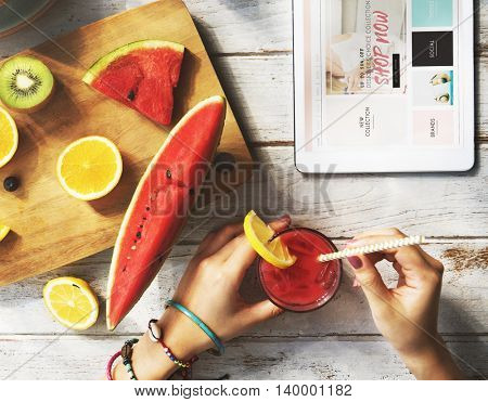 Online Shopping Fruit Healthy Vitamin Nutrition Concept
