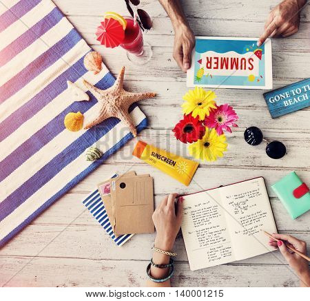 Objects Summer Travel Plan Vacation Concept