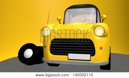 Yellow toy car with black roof and spare wheels on yellow background. 3D illustration.