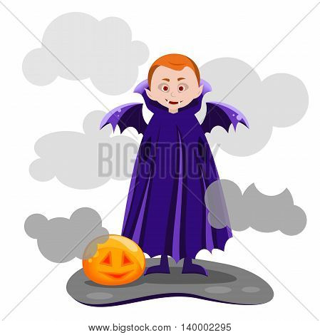 Pale skin is a vampire with red eyes and wings smiling, Vector illustration of the Halloween character.