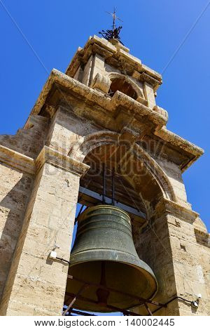 a view of the belfry of the bell tower, known as Micalet, of the Cathedral of Valencia, in Valencia, Spain