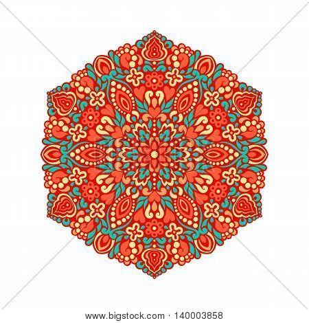 Abstract Flower Mandala. Decorative ethnic element for design. Vector illustration.