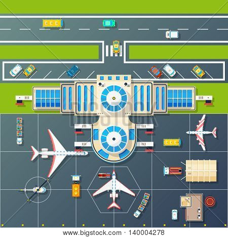 Airport building and parking airfield area for planes and helicopter with motorway top view abstract vector illustration