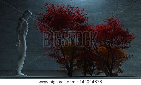 Figure in white before autumn trees 3D Render