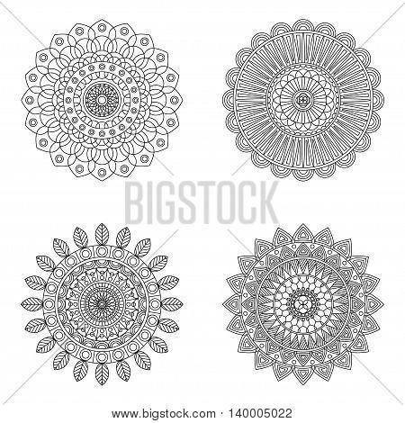 Set of floral mandalas on white background, vector illustration