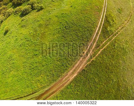 Aerial view of in the steppe Kazakhstan. Aerial photography.