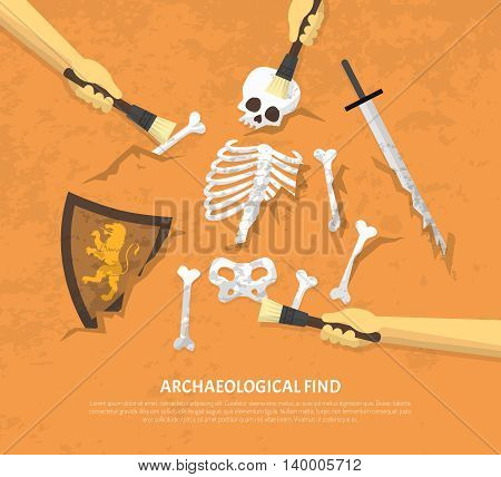 Archaeological site discovery poster with new unearthed finds medieval knight remnants on sand background flat vector illustration