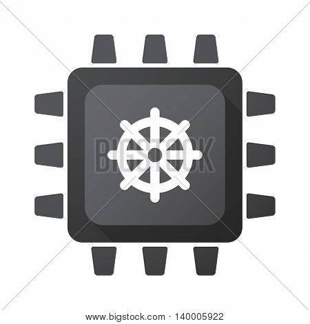 Isolated Cpu Chip Icon With A Dharma Chakra Sign