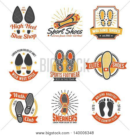 Footwear stores and suppliers labels and emblems with soles insoles and shoes footprints icons set isolated vector illustration