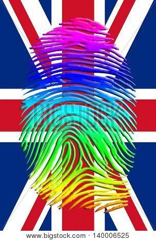 Rainbow Pride UK Fingerprint 3D Render