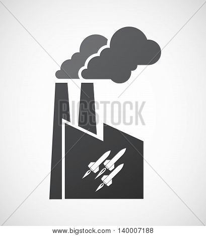 Isolated Factory Icon With Missiles
