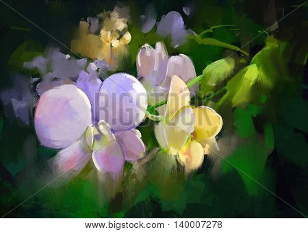 beautiful natural orchid flowers, illustration, digital painting