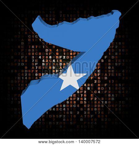 Somalia map flag on hex code 3d illustration