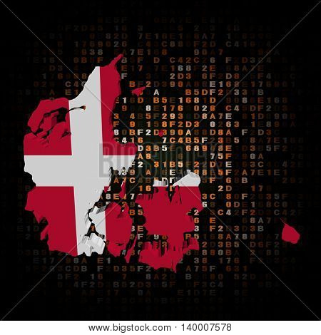 Denmark map flag on hex code 3d illustration