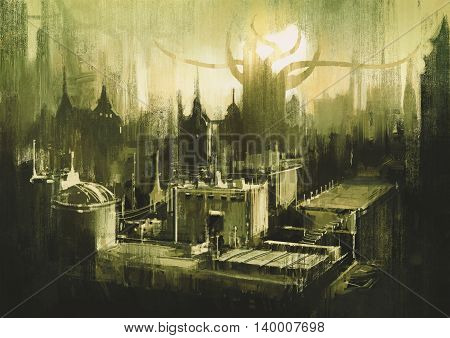 illustration painting showing skylines and sunset of dark city
