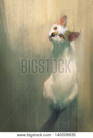 young white cat looking up, digital painting