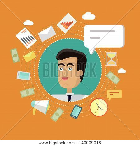 Creative office background. Businessman icon with bubble. Avatars of men with devices for communication. Smiling young man personage in flat on orange background. Vector illustration.