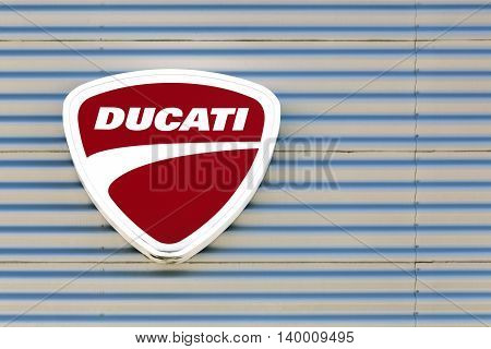 Lyon, France - July 3, 2016:  Ducati logo on a wall. Ducati is an Italian company that designs and manufactures motorcycles. Headquartered in Bologna, Italy