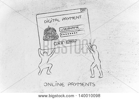 Men Lifting Pop-up With Digital Wallet, Setup A Virtual Payment System